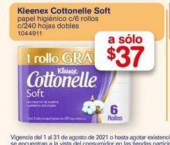 Oferta de Papel de baño Cottonelle 6 rollos por