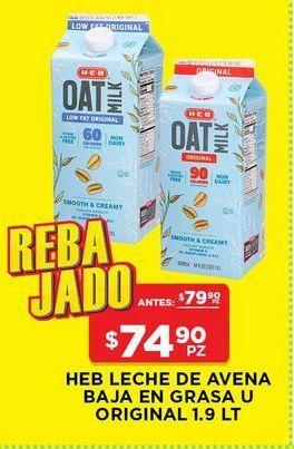 Oferta de Leche de avena HEB baja en grasa 1.9 lts por $74.9