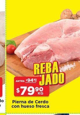 Oferta de Pierna de cerdo con hueso fresca por $79.9