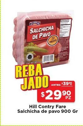 Oferta de Salchichas de pavo Hill Country Fare 900 gr por $29.9
