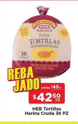 Oferta de Tortillas de harina cruda  HEB 36 pz por $42.5