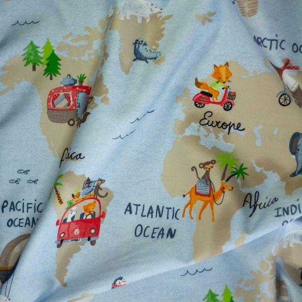 Oferta de Loneta Satín Infantil Mapa por $299.99