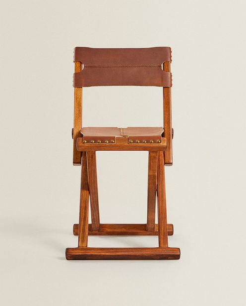 Oferta de Silla Plegable Madera Y Piel por $3999