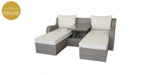 Oferta de Sofa con Mesa Elevable y 2 Taburetes para Exterior Salena por $44799