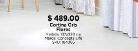 Oferta de Cortinas gris flores por $489