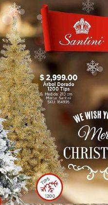 Oferta de Árbol de Navidad dorado por $2999