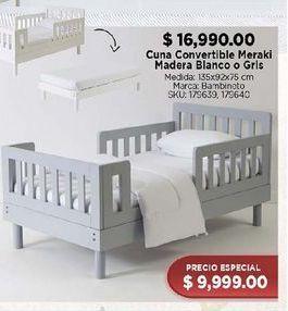 Oferta de Cuna  convertible meraki madera blanco o gris por $16990