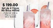 Oferta de Set de 4 vasos Hb Brisa 465 ml por $199