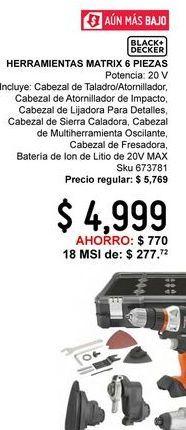 Oferta de Herramientas matrix 6PZ BDCDMT1206KITC por $4999