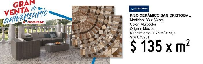 Oferta de PISO 33X33 SAN CRISTOBAL 1.76 por $135