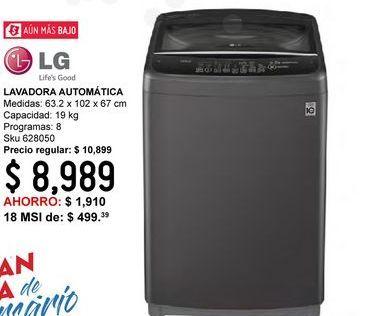 Oferta de Lavadora Carga Superior LG Automatica 19 Kg WT19MBB Color Acero Negro por $8989