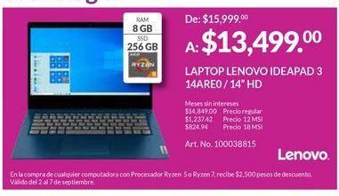Oferta de Laptop Lenovo por $13499
