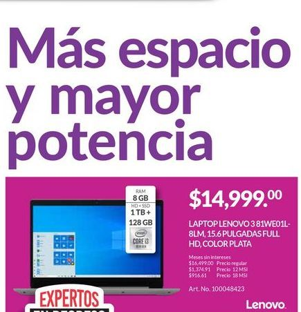 Oferta de Laptop Lenovo por $14999