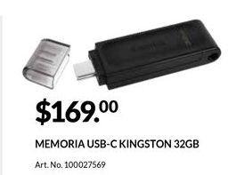 Oferta de Memoria externa Kingston por $169