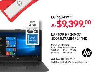 Oferta de Laptop HP por $9399