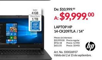Oferta de Laptop HP por $9999