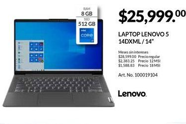 Oferta de Laptop Lenovo por $25999