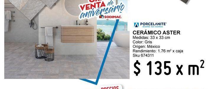 Oferta de Piso 33x33 aster gris por $135