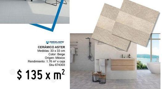 Oferta de Piso 33x33 aster beige por $135
