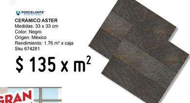 Oferta de Piso 33x33 aster negro por $135