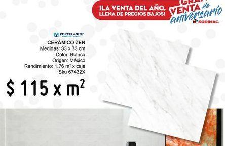 Oferta de Piso 33x33 zen blanco por $115