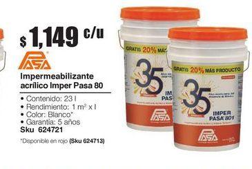 Oferta de Impermeab acrilico imperpasa802 blanco cubetón 23L por $1149