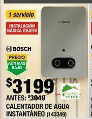 Oferta de CALENTADOR DE AGUA INSTANTÁNEO 1 SERVICIO GAS LP por $3199