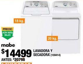 Oferta de COMBO LAVADORA 18KG Y SECADORA 20KG BLANCO MABE por $14499