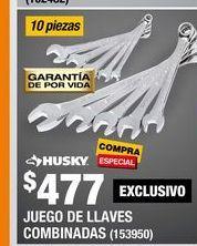 Oferta de JUEGO DE LLAVES COMBINADAS SAE ACERO HUSKY 10 PIEZAS por $477