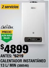 Oferta de CALENTADOR INSTANTÁNEO CALOREX 2 SERVICIOS 13 L GAS LP por $4899