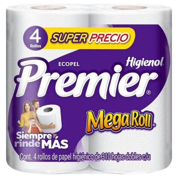Oferta de Papel Higiénico Mega Roll Premier 4 Rollos de 310 Hoja Doble c/u por $20