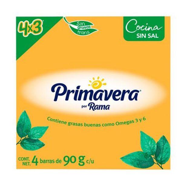 Oferta de Margarina sin Sal Primavera 4 barras de 90 gr c/u por $51.3