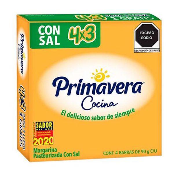 Oferta de Margarina Primavera Cocina con Sal 4 piezas de 90 g c/u por $42.3