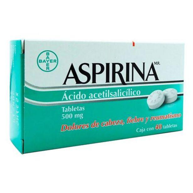 Oferta de Aspirina Analgésico Acido Acetilsalicílico 500 mg 40 Tabletas por $3200