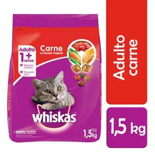 Oferta de Alimento para Gato Adulto Whiskas Carne 1.5 Kg por $122
