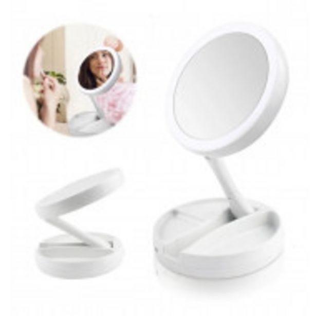 Oferta de Espejo De Maquillaje Luz Led Doble Cara Ajustable Plegable por $659