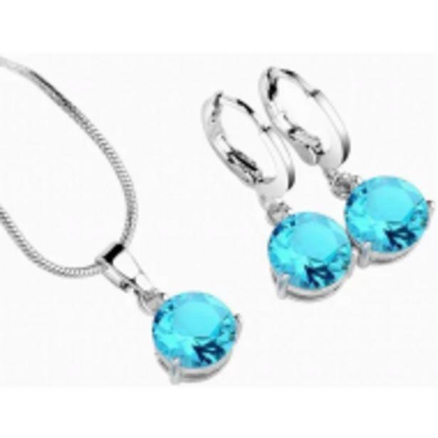 Oferta de Set Joya Collar Arete Dije Zirconia Accesorio Moda Mujer por $499