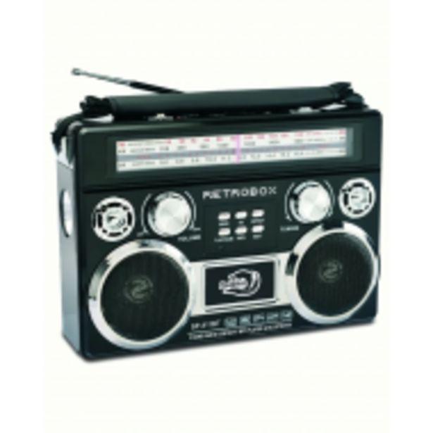 Oferta de Retro 80's Radiograbadora Negra Recargable Bluetooth Dolphin por $1359