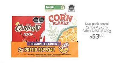Oferta de Duo pack Cereal Carlos V y corn flakes Nestlé 630g  por $53