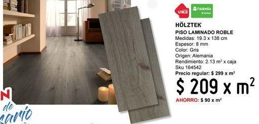 Oferta de Piso laminado Roble claro 8 mm por $209