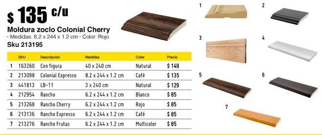 Oferta de Moldura zoclo Colonial cherry por $135