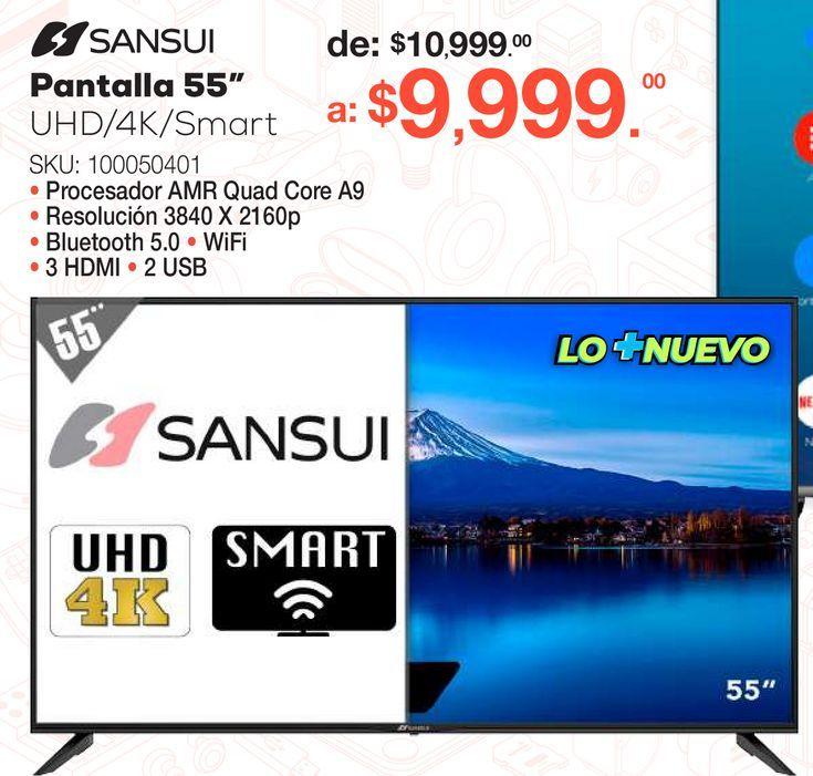 Oferta de Pantalla Sansui / 55 pulgadas / Ultra HD 4k / Smart TV por $9999