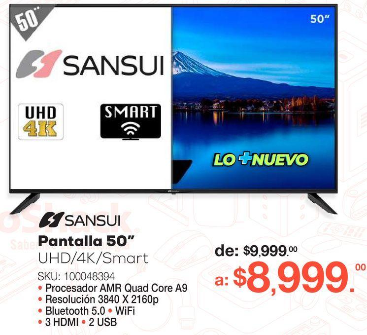 Oferta de Pantalla Sansui / 50 pulgadas / Ultra HD 4k / Smart TV por $8999