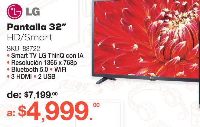 Oferta de Pantalla LG 32LM630BPUB / 32 pulgadas / HD / Smart TV por $4999