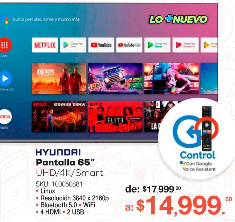 Oferta de Pantalla Hyundai / 65 pulgadas / Ultra HD 4k / Smart TV por $14999