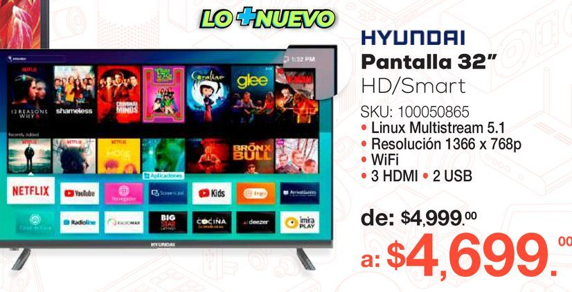 Oferta de Pantalla Hyundai / 32 pulgadas / HD / Smart TV por $4699