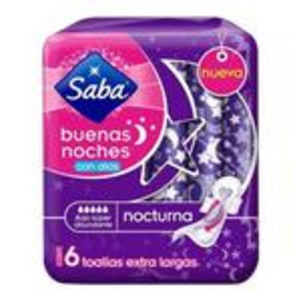 Oferta de Toallas femeninas Saba Buenas Noches flujo súper abundante con alas 6 piezas por $14.99