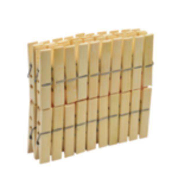 Oferta de Pinzas para Ropa Bamboo 40 piezas por $29.99