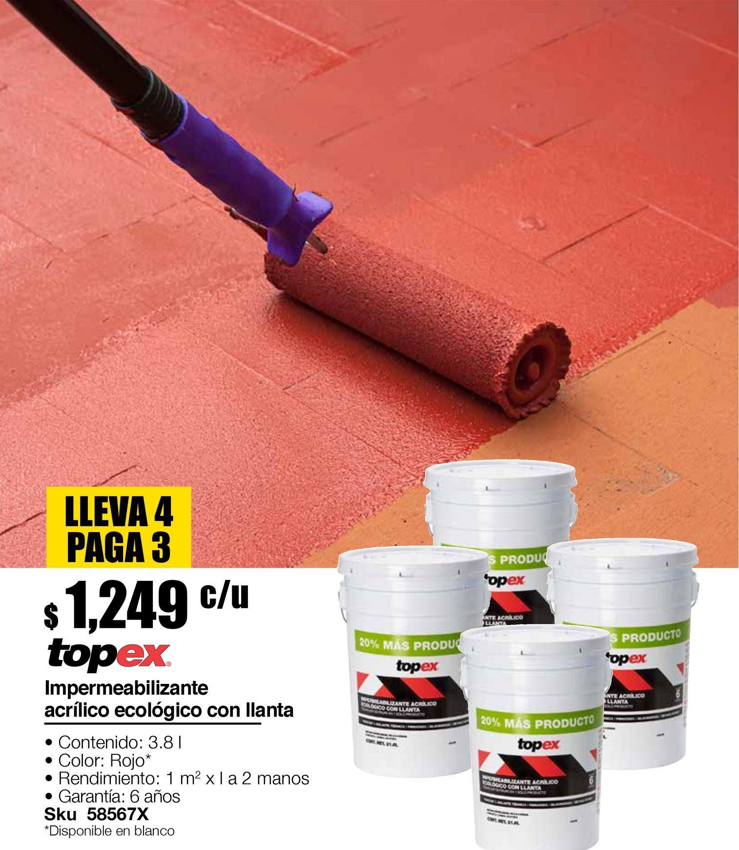 Oferta de Impermeabilizante base llanta, Aislante termico, Fibratado, Siliconizado, Secado rapido, 19 litros , rojo por $1249