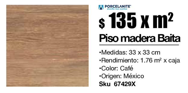 Oferta de Piso 33x33 madera baita café por $135
